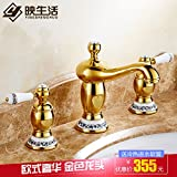 Furesnts Modern home kitchen and bathroom faucet Continental Tap Gold Porcelain 3-Hole Wash-Basin Of Hot And Coldall Copper God Lampstand Basin Mixer Antique,(Standard G 1/2 universal hose ports)