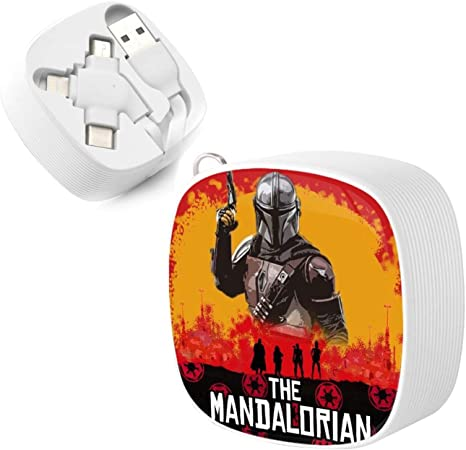Baby Yoda The Mandalorian This is The Way Mini Stretch Square Data Cable,Micro 3 in 1 USB Charging Cable