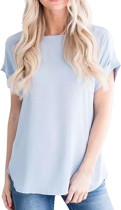 90dd30b9506e Weant T-Shirt Donne Maglietta Donna Manica Corta Tops Girocollo Pianura  Tinta Unita Chiffon Cime Camicie Camicetta Blusa Lady Shirt Sciolto Estate  Primavera ...