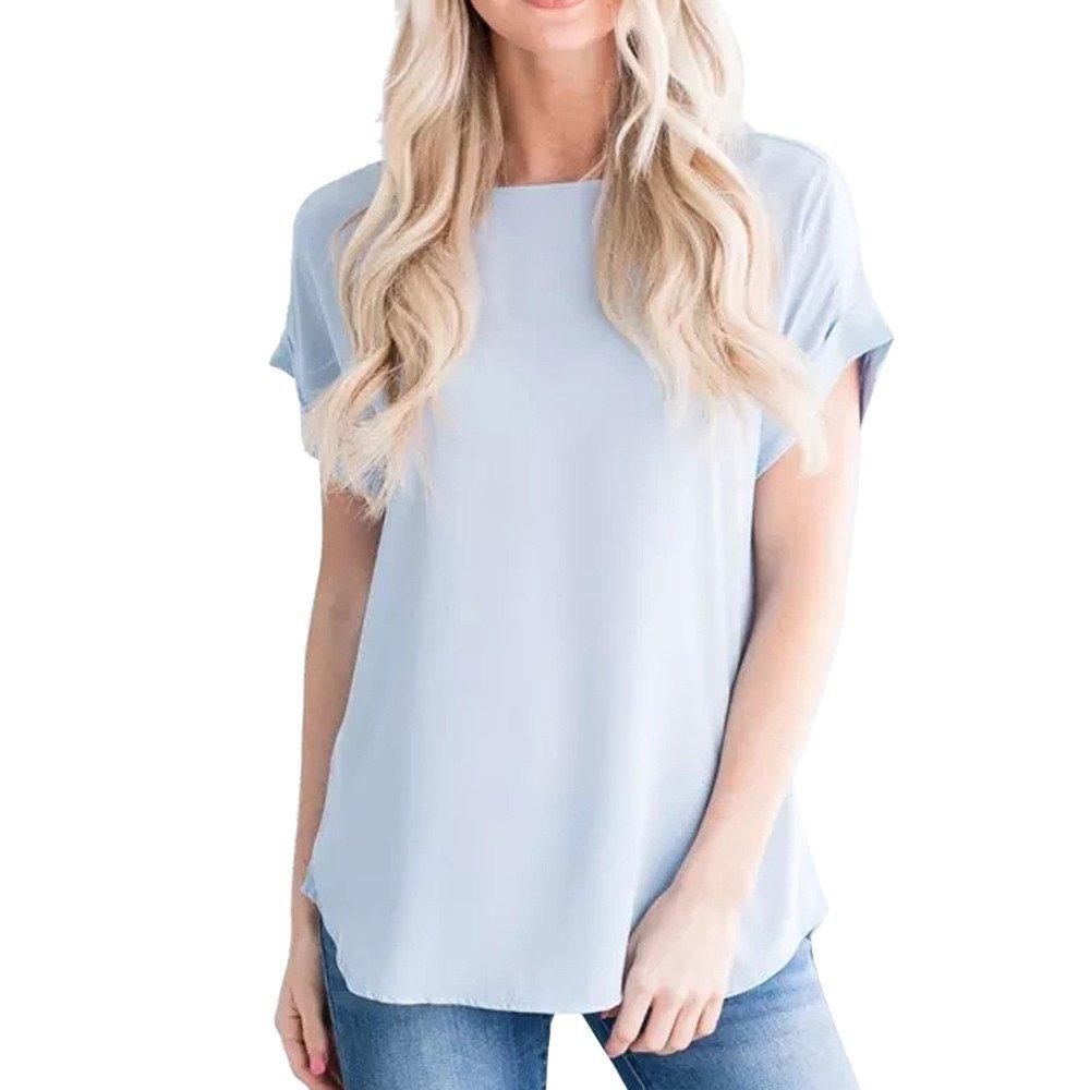 ❤️LILICAT Femmes été Casual Solide en Mousseline de Soie à Manches Courtes T-Shirt débardeur Blouse O-Cou Décontracté Élégant Plus Taille Vintage Top