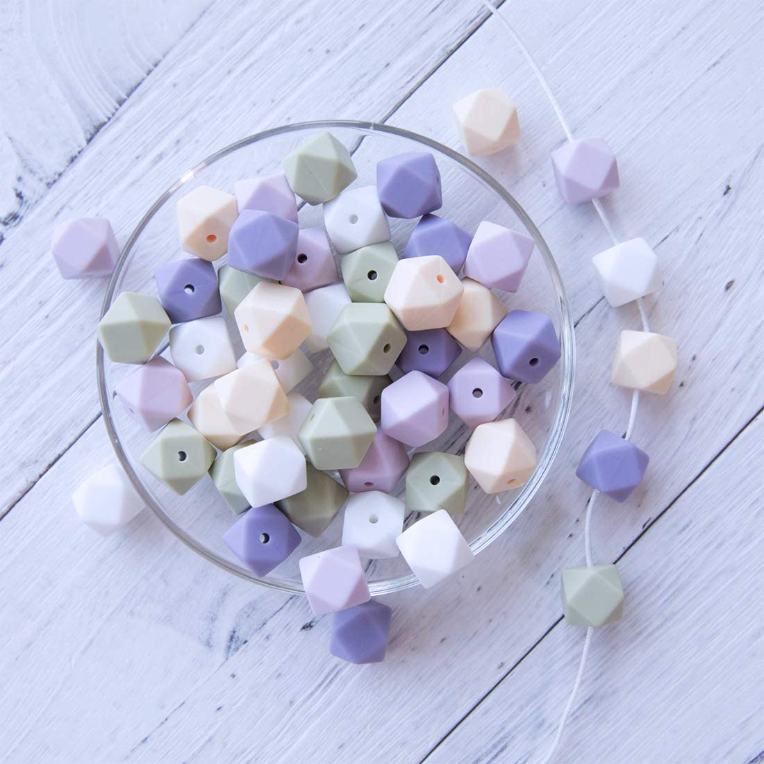 | for DIY Teethers BPA Free Necklaces /& Bracelets 50 PC 14MM HAO JIE Silicone Loose Bead Craft Set
