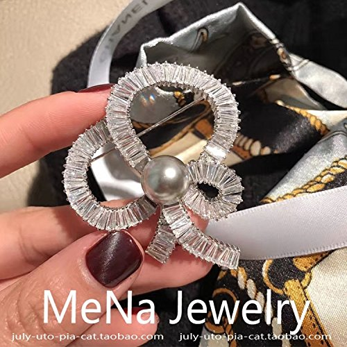 Pave Pin Bow (TKHNE 2018 high-end fashion flash diamond brooch pin badge Micro Pave pearl bow brooch pin badge temperament women girls simple wild)