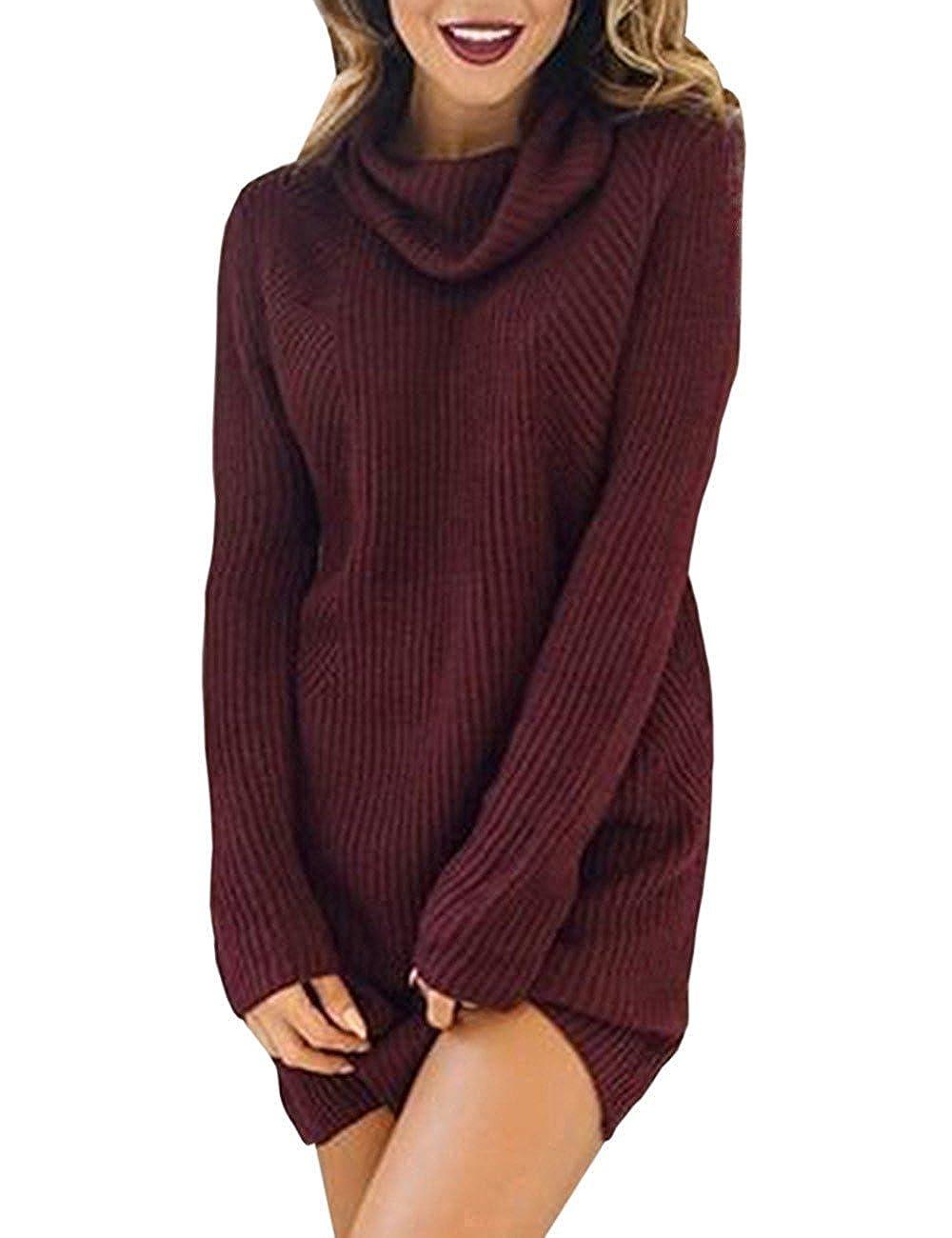 Maglie Donna Autunno Inverno Eleganti Maglione Vestito Collo Alto Lana Maglietta Dolcevita Moda Sweater Turtleneck Irregolare Maglione Abito di Maglia Maglieria