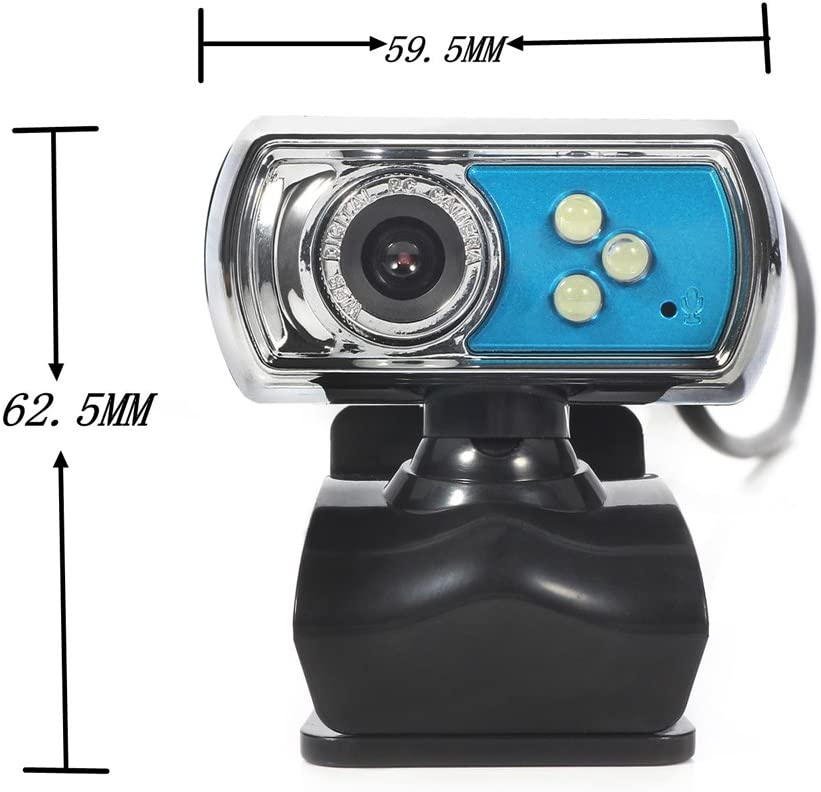 Wiseminnie HD 12.0MP 3 LED USB Webcam Camera Skype with Built-in Microphone /& Night Vision for PC Computer Laptops Notebook Blue