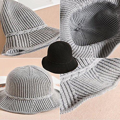 Moda Autunno Feltro Nero Ragazze Pescatore Di Cappello Donna Fiore Inverno Bozevon qOEtPt