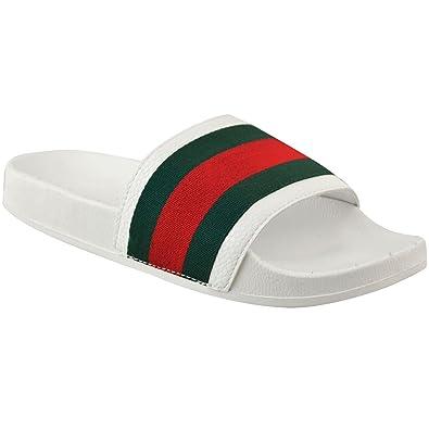 09ffb4ba7dfa7 Sandales à Enfiler - pour Femme - Style Mules Claquettes - Rayées Plates -