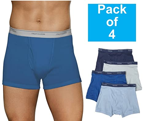 Fruit of the Loom Mens 4Pack Assorted Trunk Boxer Briefs Cotton Underwear