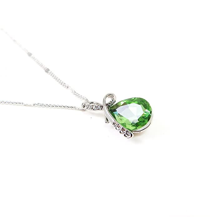 Rarelove Peridot Green Love Teardrop Clear Crystal Gold Plated Pendant Necklace mHR8OnlPs
