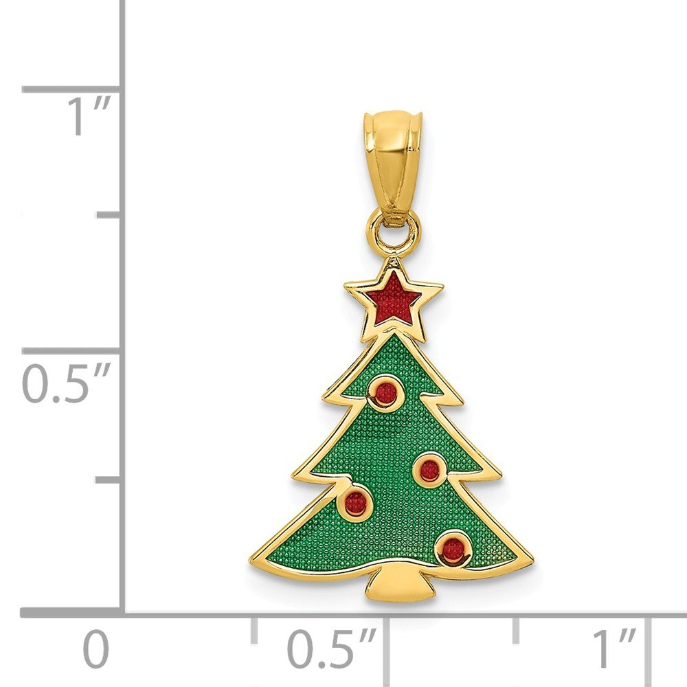 Jewelry Stores Network 14k Yellow Gold Green and Red Decorated Christmas Tree Pendant 23x13mm
