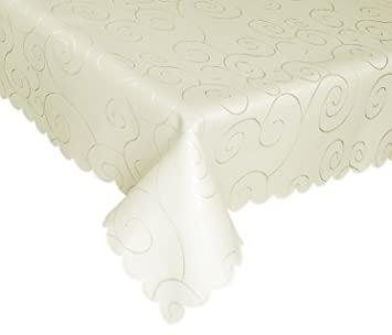 EcoSol Designs Microfiber Damask Tablecloth, Wrinkle Free U0026 Stain Resistant  (60x84u0026quot;,