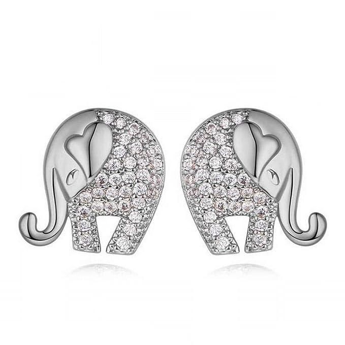 O&Yq Dibujos Animados Lindos Pendientes De Elefante Aaa Micro-Incrustaciones De Circón Pendientes Súper Brillantes Exquisitos Pendientes De Pareja, Platino