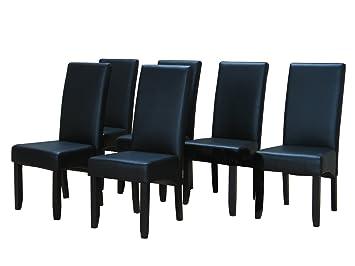 Kunstleder Küchenstuhl Stühle Esszimmer Schwarz Stuhl Küchen Esszimmerstuhl 6x 0OknP8w