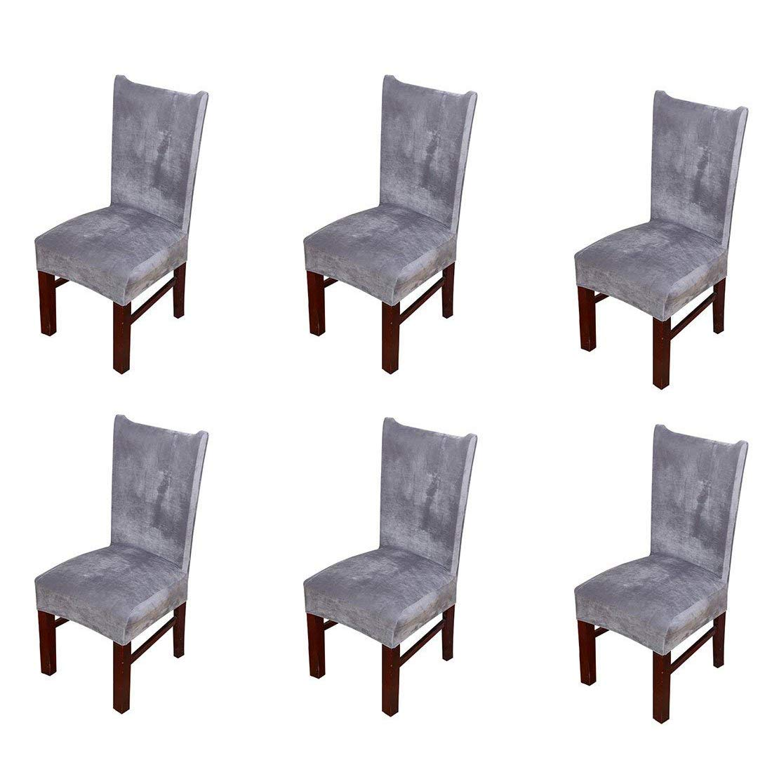 Pinji 6Pcs Stretch Chair Cover Thicken Removable Short Dining Room Protector Seat Slipcover Grey