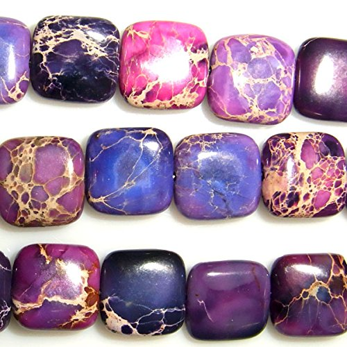 TheTasteJewelry 10mm Square Imperial Purple Jasper Beads 15 inches 38cm Jewelry Making Necklace Bracelet - Purple Jasper