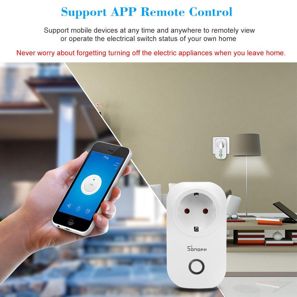 SONOFF Enchufes Inalambricos WiFi S20 ITEAD Enchufe con Mando a Distancia Phone App Temporizador Inteligente Funciona con  Alexa y para Google Home//Nest Home Plug