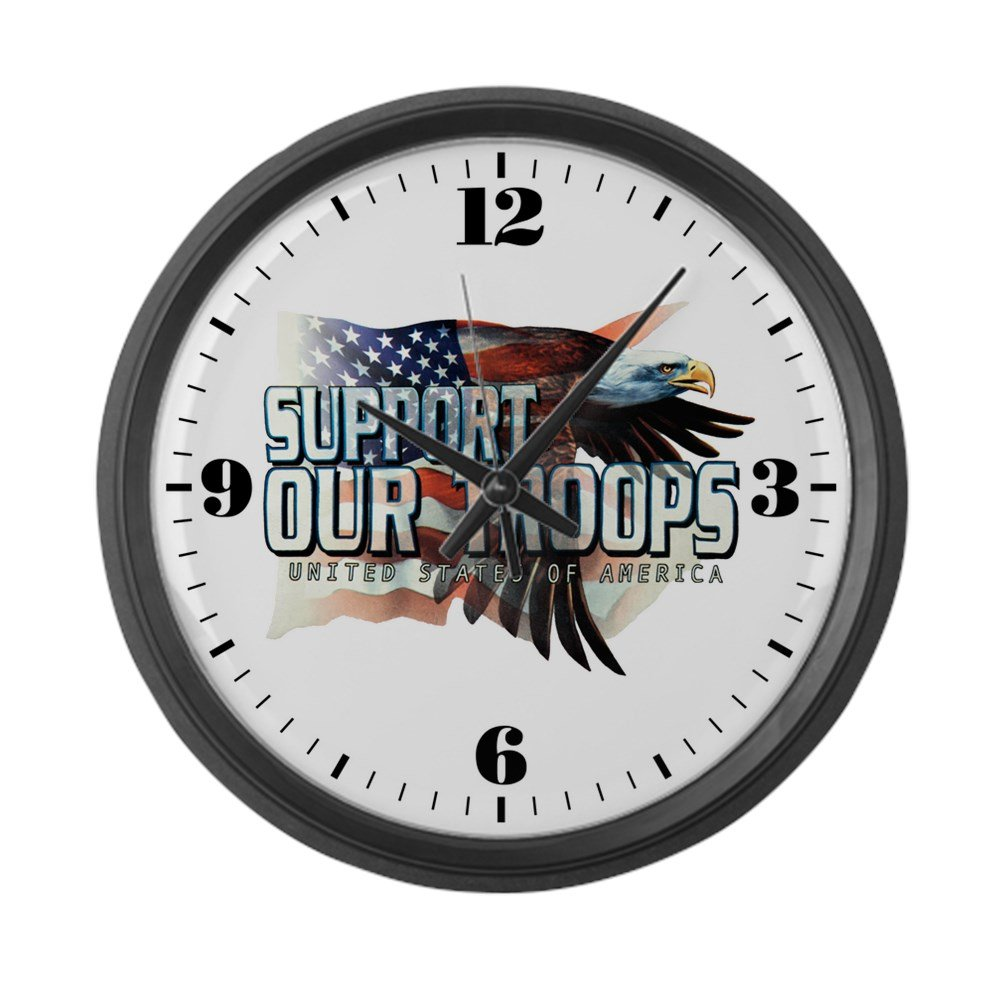 Large Wall Clock Support Our Troops US Flag Eagle