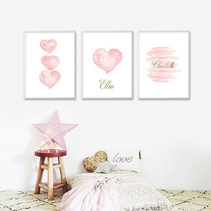 Amazon.com: woplmh Acuarela Corazón rosa Arte de la pared ...