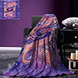 smallbeefly Dragon Digital Printing Blanket Chinese Figure with Ying Yang Signs Ethnic Patterns Asian Arts Meditation Themed Summer Quilt Comforter Purple Coral