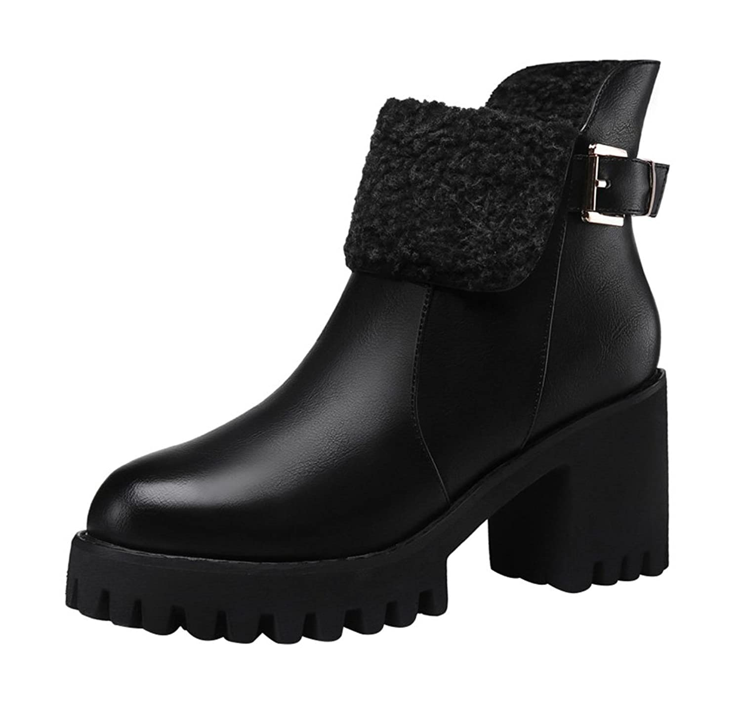 T&Mates Womens Comfort Short Faux Fur Ankle Strap Buckle Side Zip Chunky Heel Ankle Booties