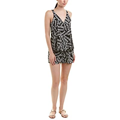 1.STATE Printed Popover Romper (Rich Black, 0): Clothing