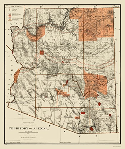 Old State Map - Arizona Territory - General Land Office 1887 - 23 x 27.31 - Matte (General Map)