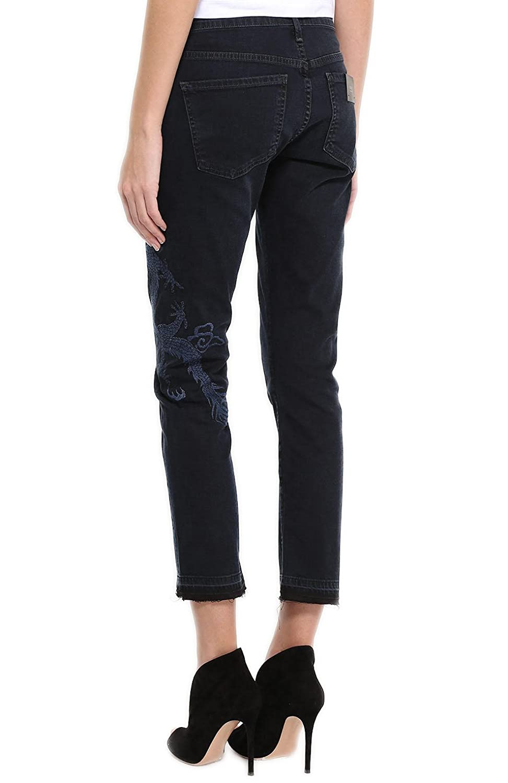 Emerson Slim Boyfriend Jeans in Black and Blue Dragon Embroidery