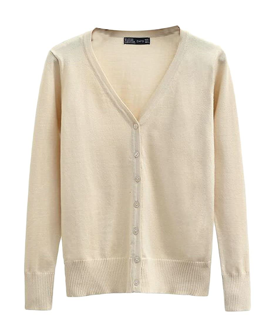 BU2H Women's Fashion V-Neck Open Front Solid Button up Knitted Plus Size Cardigan