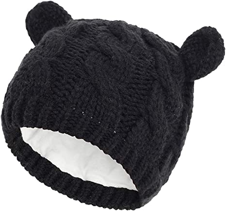 Details about  /Kids Baby Knitted Beanie Cap and Mittens Set Winter Warm Casual Ear Hats Gloves