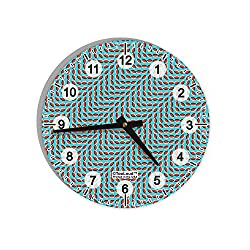 TooLoud Swimming Fish Optical Illusion 8 Round Wall Clock with Numbers All Over Print