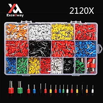 2120pcs  AWG 22-5 Wire Copper Crimp Connector Insulated Cord Pin End Terminal