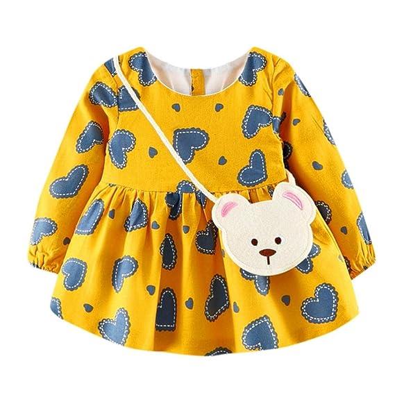 K-youth Vestido de niña, Vestidos Bautizo Fiesta Bebé Niña Invierno Manga Larga Princesa Falda + Bolsa: Amazon.es: Ropa y accesorios