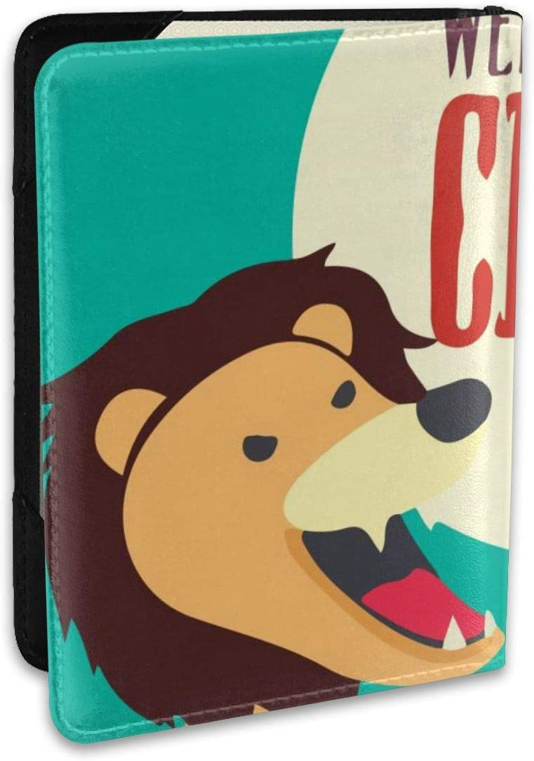 Old Circus Icons Lion Fashion Leather Passport Holder Cover Case Travel Wallet 6.5 In