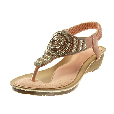 Angkorly Damen Schuhe Sandalen Flip-Flops - Slip-On - T-Spange - Strass - Perle Keilabsatz 4.5 cm - Schwarz L6130 T 37 vmMZR