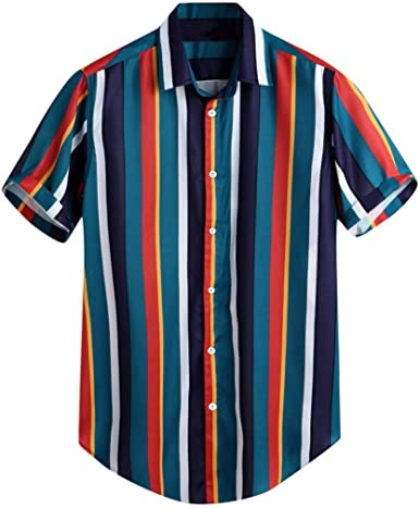 CAOQAO Camisas Hombre Manga Corta Hawaiana Moda Casual Transpirable Raya Verano Camisa