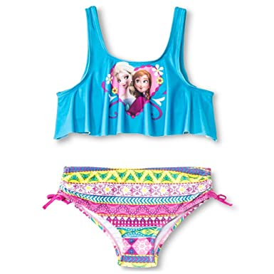 c454940da9 Frozen Girl's 2 Pc Bikini Bathing Suit Anna Elsa Flounce Top Blue Swimsuit  (Medium)