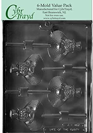 """Cybrtrayd Life of the Party A159-6BUNDLE Ground Hog Lolly Chocolate Candy Mold, 6-Pack in Sealed Protective Poly Bag Imprinted w/Instructions, 3"""" x 2-3/4"""" x 5/8"""" deep, Clear"""