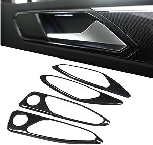 Qiilu 4Pcs Carbon Fiber Car Interior Door Handle Cover Frame Trim Grab Handle Trim for Alfa Romeo Giulia 17-18