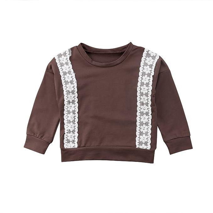 6c1f90f2e Amazon.com  Baby Kids Girls Long Sleeve Sweater Lace Flower T-Shirt ...