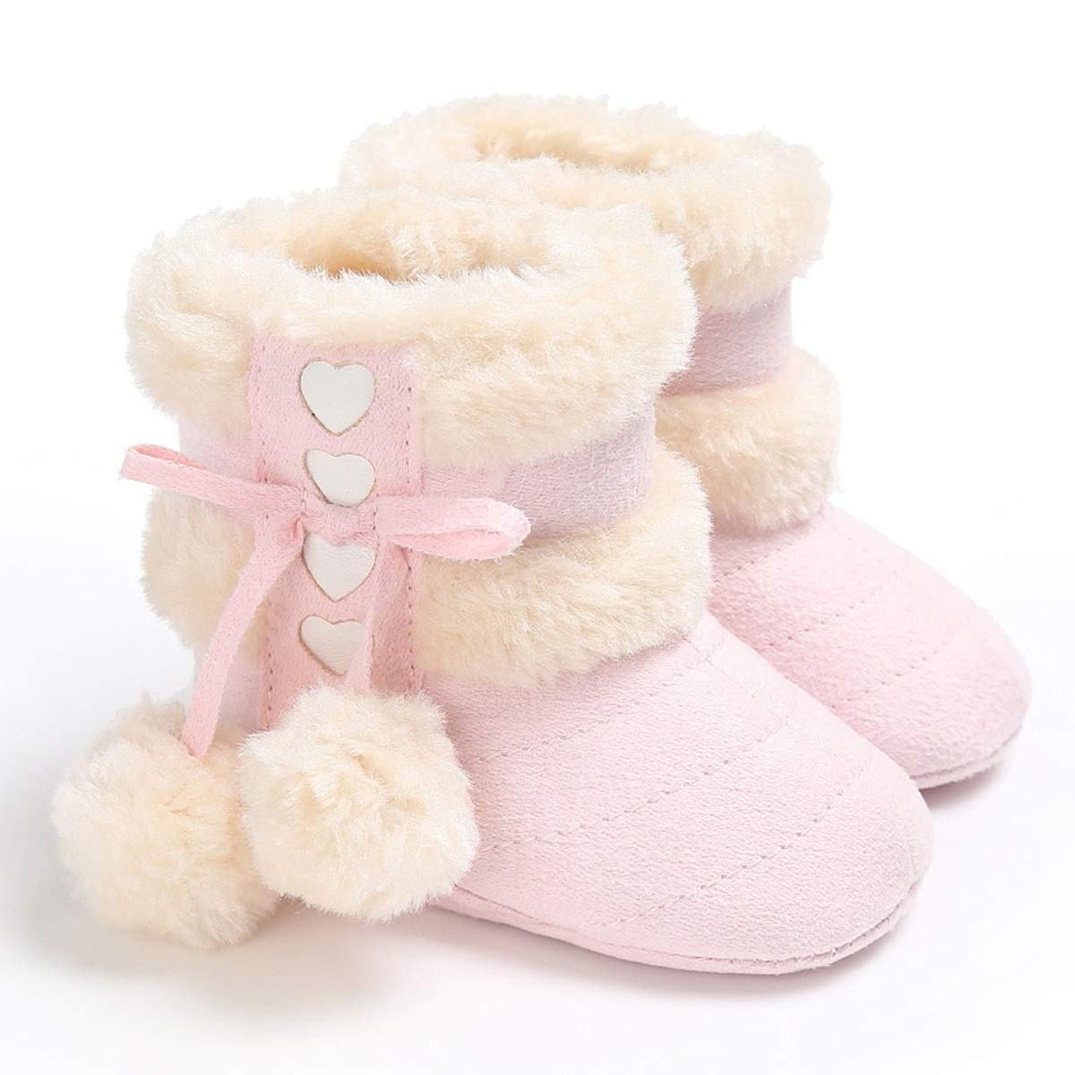 12cm Pink Size Jinxuny Warm Boots Newborn Baby Girls Boys Pom Pom Ball Fleece Plush Lined Winter Warm Snow Boots Non-Slip Shoes Color for 6-9Months