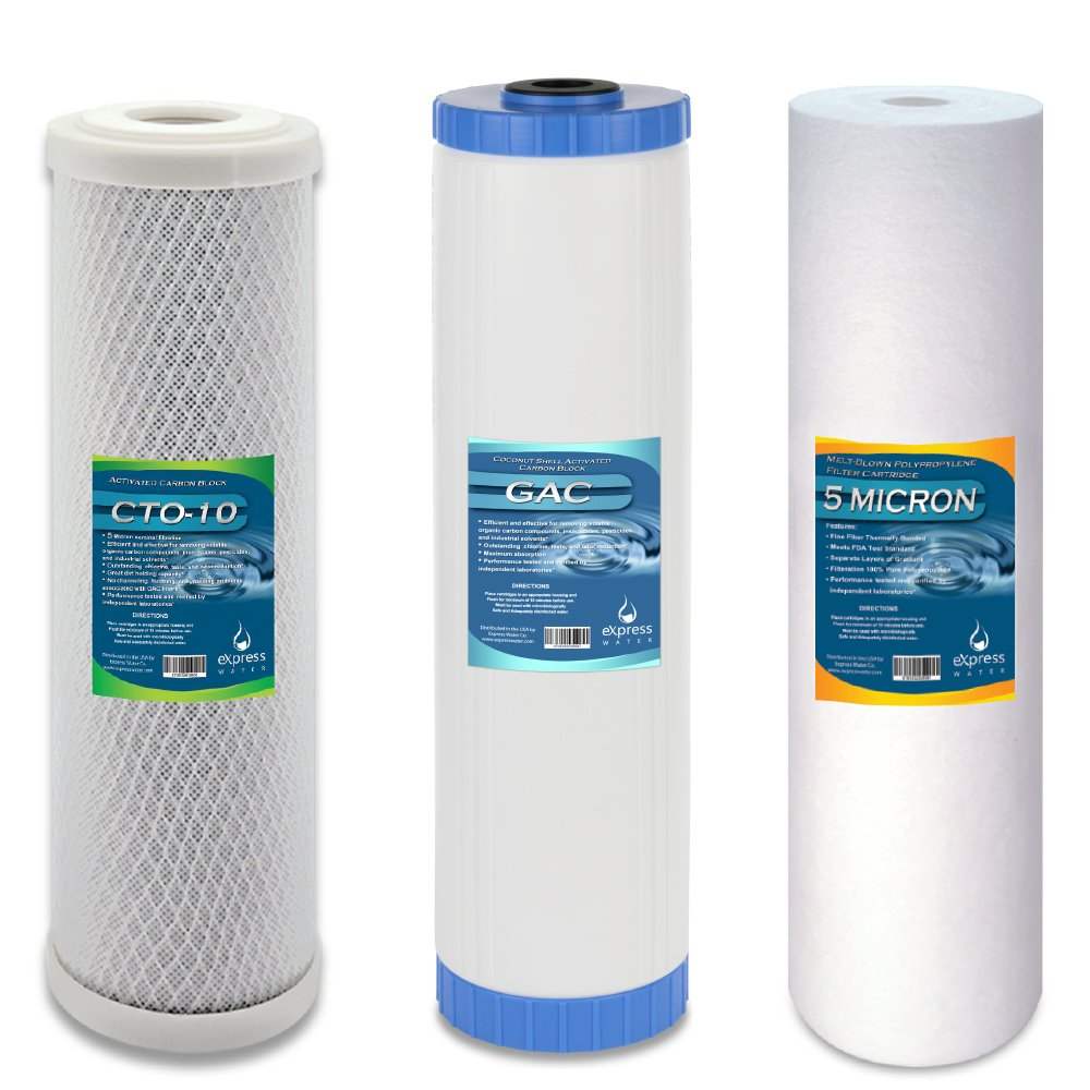 """Express Water – Whole House Water FIlter Set – 3 Stage Filtration Replacement Kit – Sediment, Charcoal, Carbon High Capacity Cartridge – 5 Micron – 4.5"""" x 20"""" inch"""
