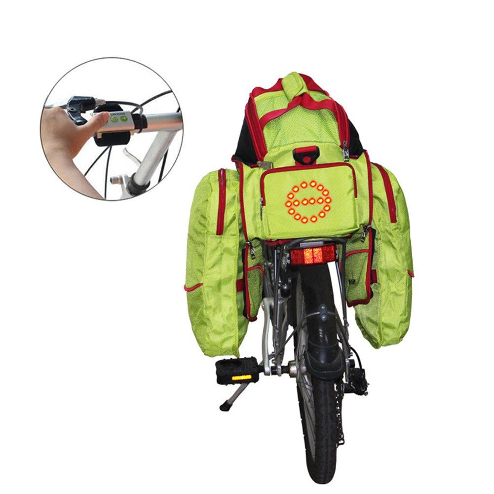 ak-bag自転車バックパックサイクリングバッグwith LED警告ライト/多機能防水自転車登山バッグ  グリーン B07DJ4C9WZ