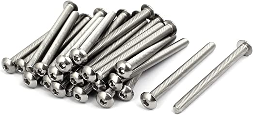 Fully Threaded iExcell 50 Pcs M4 x 40mm//45mm//50mm//55mm//60mm Stainless Steel 304 Hex Socket Button Head Cap Screws Kit