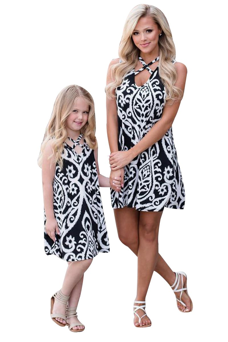 YMING Patching Mom &Daughter Me Summer Floral Sundress Beach Dress(Mom,S)