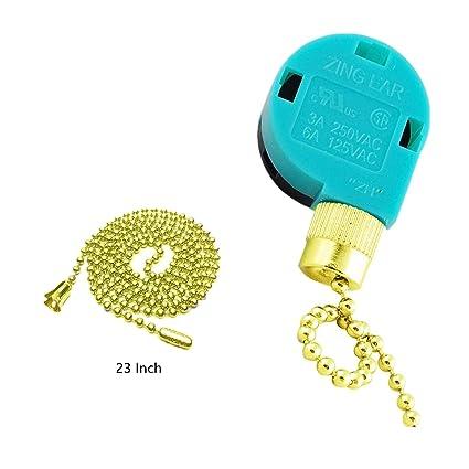 Ceiling Fan Switch Zing Ear Pull Chain Switch ZE-268S6 3 Sd 4 Wire on