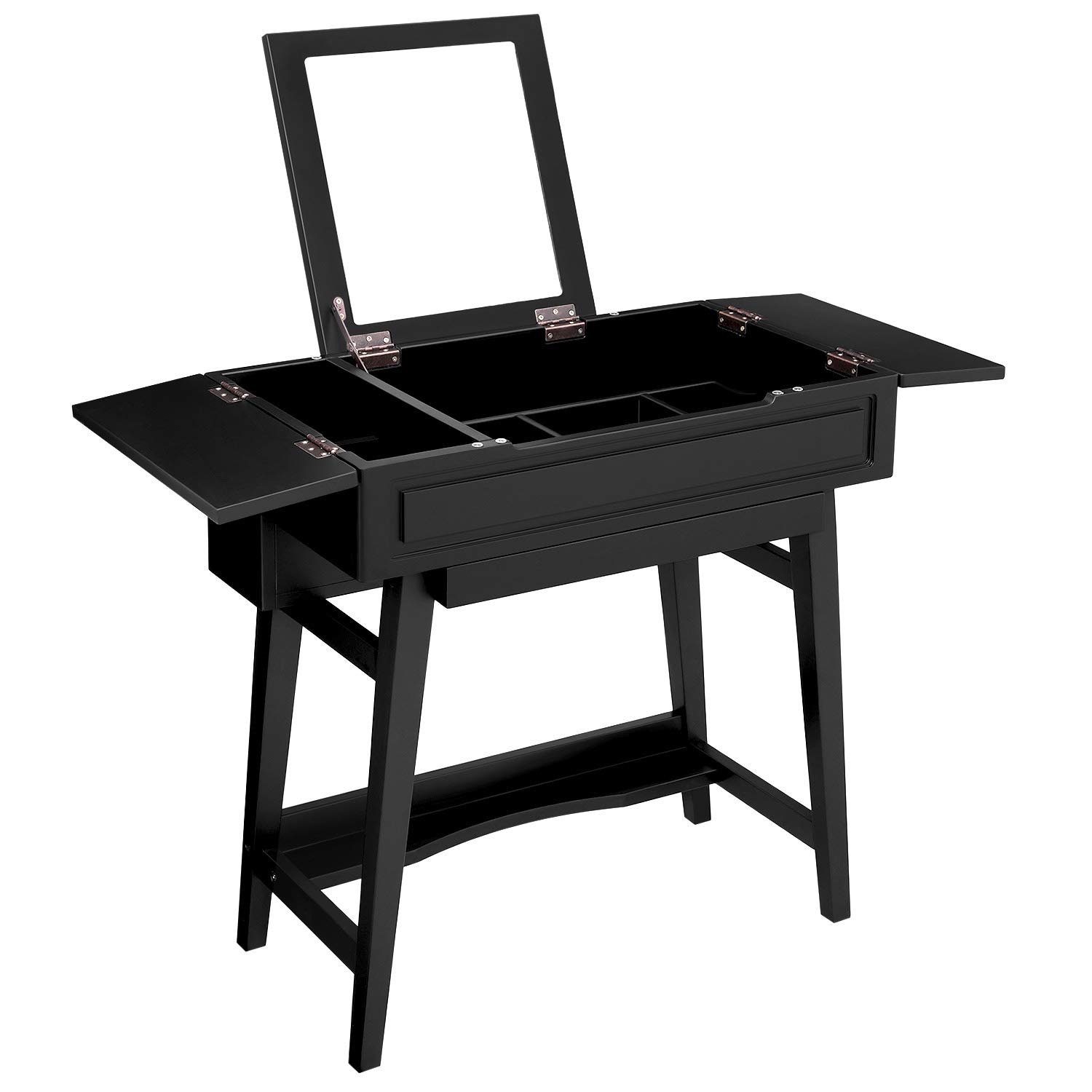 VASAGLE Vanity Table with Flip Top Mirror, Solid Wood Makeup Dressing Table Desk,6 Organizers for Different Sized Makeup Accessories, 1 Small Drawers for Lipsticks, Powders, Black URDT26BK