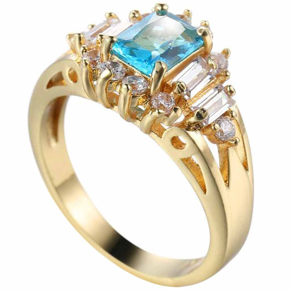 XAHH Women 14K Gold Emerald Cut Aquamarine & Round Cut White Diamond Bridal Halo Style Engagement Ring Size 7