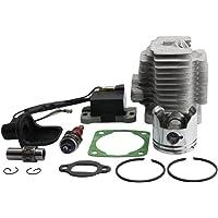 GOOFIT Cilindro Moto 44mm Testa Pistone y Guarnizioni con Dispositivi di Candela Accensione per 47cc 49cc Motore 2 Tempi Mini Quad ATV Pocket Dirt Bike