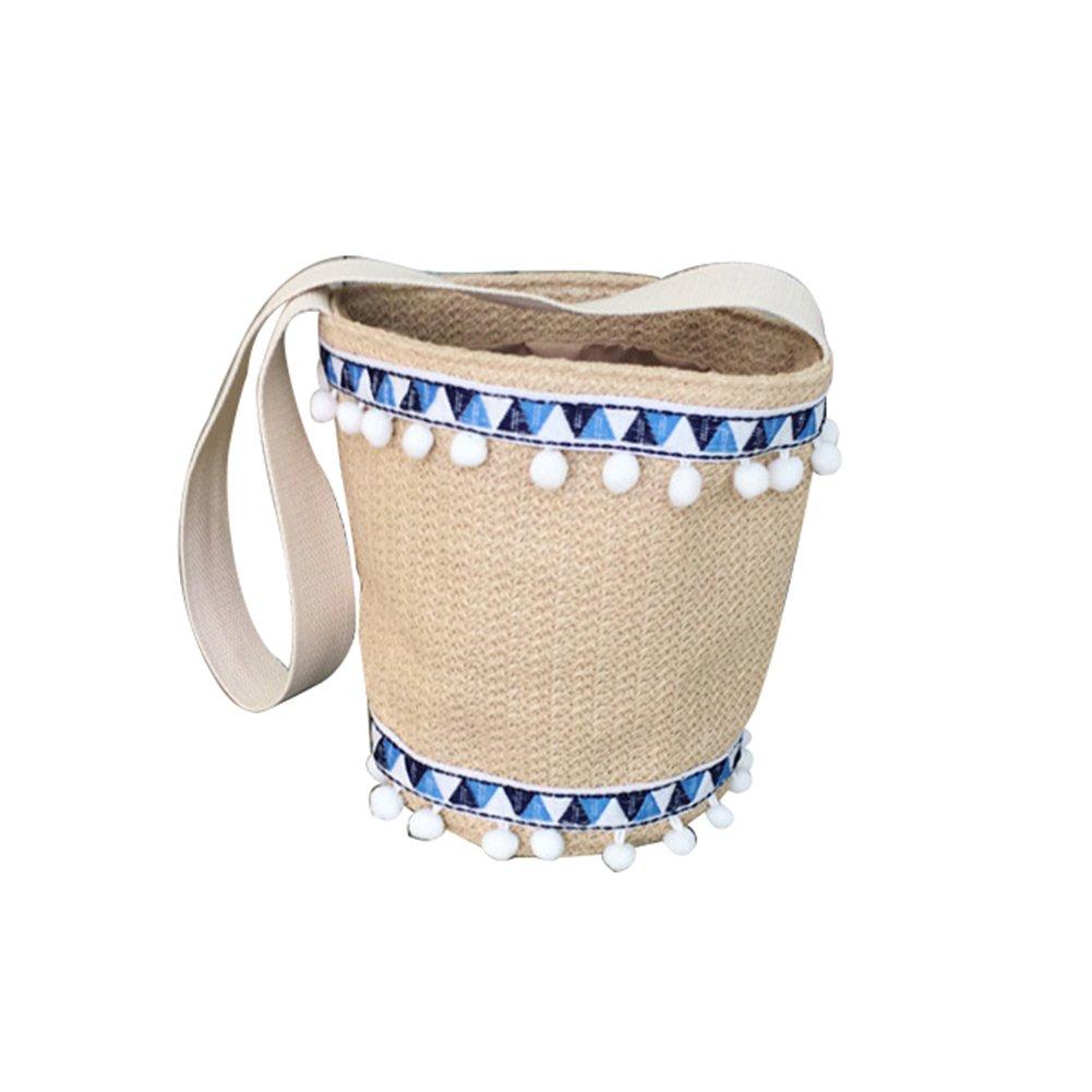 Lightclub Fashion Women Summer Knitting Tassel Bucket Shoulder Bag School Date Cross Body (Khaki)