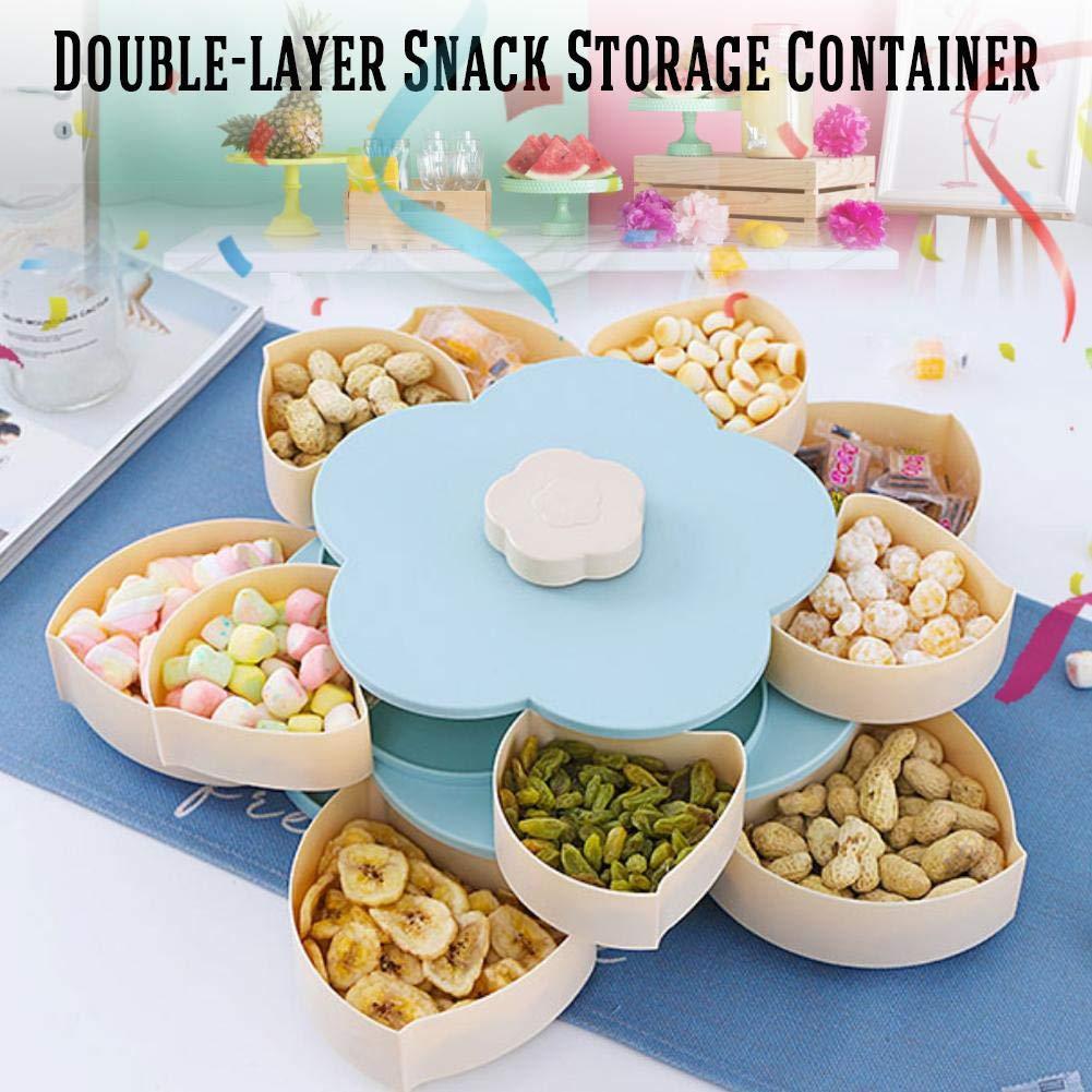 Plastic Flower Type Bandeja Giratoria para Dulces Snack Storage Doble Capa Semillas Nueces Y Frutas Secas Almacenamiento para Bodas De Fiesta Creative Candy Box 10 Cuadrados Peque/ños