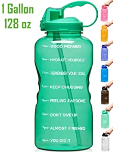 Venture Pal Large 128oz (When Full) Leakproof BPA Free Fitness Sports Water Bottle with Motivational Time Marker & Straw to Ensure You Drink Enough Water Throughout The Day